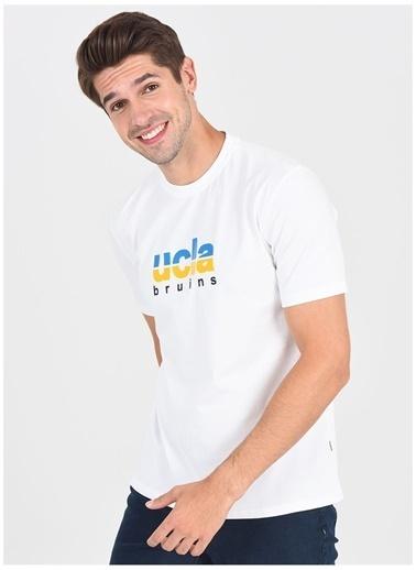 UCLA Ucla Boron Bisiklet Yaka Yazı Baskılı Beyaz Erkek Sweatshirt Beyaz